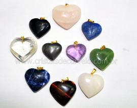 10 Pingente Coração Pedra MISTO Natural Montagem Flash Dourado ATACADO