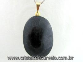 Pingente Cabochão QUARTZO PRETO Pedra Natural Castoação Pino Dourado