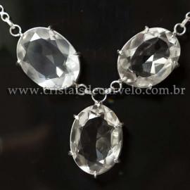 Conjunto Maxxi colar Cristal Natural 3 Pedras Prata 950 125217