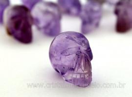 Cranio Não Pingente Pedra AMETISTA Esculpido em Pedra Natural Pequeno