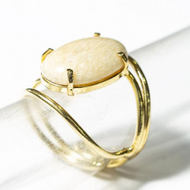 Anel Cabochão Oval Pequeno Amazonita Pêssego Natural Dourado