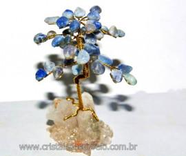 Árvore Da Felicidade Pedra Quartzo Azul na Drusa REFF AD1516