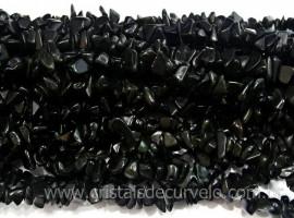 Fio Obsidiana Negra Cascalho Extra Furado a Laser Pedra Natural Rolada e Furado 90cm