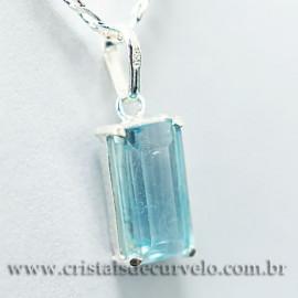 Pingente Baguette Facetado Topazio Azul Prata 950 Garra 112477
