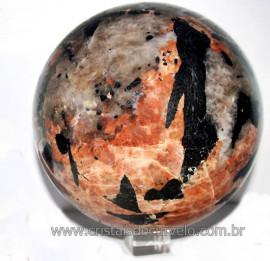 Esfera 16 kg Pedra Turmalina gigante + Feldspato e Mica Cod 101722