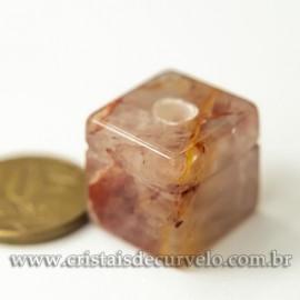 Pingente Cubo Hematoide Vermelho Difusor Aromaterapia Ranhurado