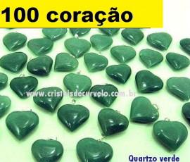 100 Coração VERDE Pedra Quartzo Pingente Banhado Prata