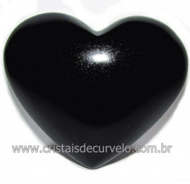 Coraçao de Obsidiana Negra Mineral Lava Vulcanica Cod 116325