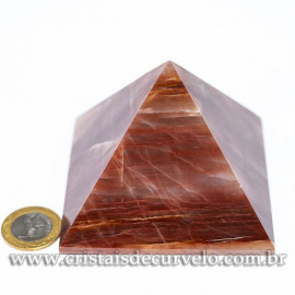 Pirâmide GRANDE Pedra Aragonita Vermelha Natural Queops 120717