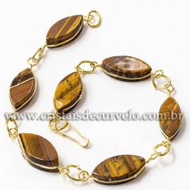 Pulseira Navete Pedra Olho de Tigre Ranhurado Dourado 112815