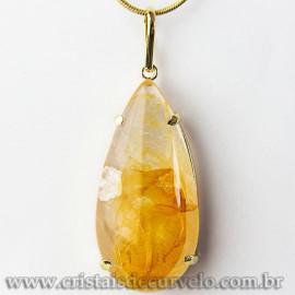 Pingente Gota Hematoide Amarelo Pedra Garra Dourado 112541