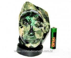 Busto de Artesanato Rosto Esculpido Pedra Esmeralda Cod RE6700