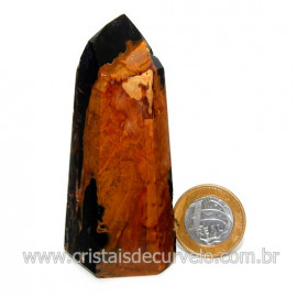 Ponta Onix Preto Pedra Natural Gerador Sextavado Cod 128907
