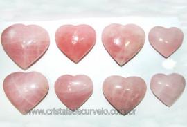 10 Coração Pedra Quartzo Rosa Natural 4.7 a 6.5cm ATACADO