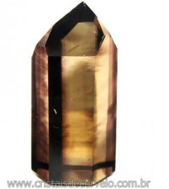 Ponta Citrino Natural e Fume Pedra Quartzo Bi Color 109292