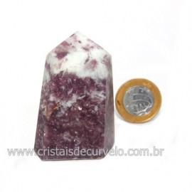 Ponta Lepidolita Pedra Natural Gerador Sextavado Cod 119258