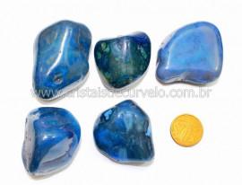 05 Agata Azul Rolado Pedra Natural de Garimpo Esoterismo Colecionador Reff 72.7