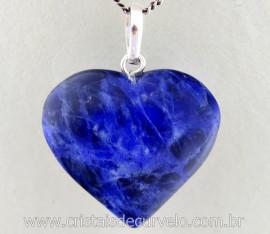 Pingente Coração Pedra Sodalita Azul Castoação Prata 950 Pino e Perinha