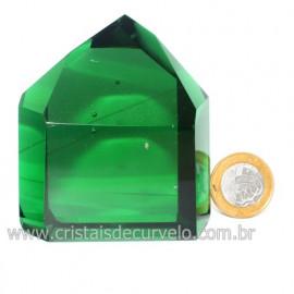 Ponta Obsidiana Verde Cristalizada Transparente Cod 123120