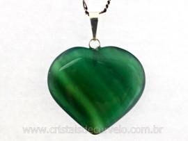 Pingente Coração Pedra Agata Verde Montagem Pino e Perinha Prata 950ct