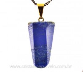 Pingente Pontinha Pedra Lapis Lazuli Presilha e Pino Dourado