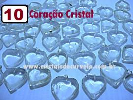 10 Coração CRISTAL Pedra Quartzo Pingente Banhado Prata