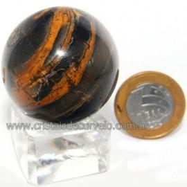 Bola Onix Preto Pedra Natural Lapidado Artesanal Cod 118741