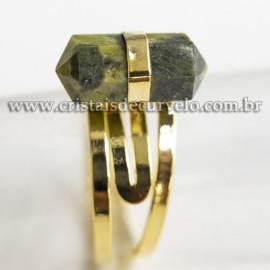 Anel Pontinha Serpentinita Bi Ponta Ajustavel Dourado 113125