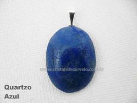 Pingente Cabochão QUARTZO AZUL Pedra Natural Pino Banho Prata