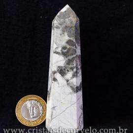 Ponta Howlita Natural Lapidaçao Gerador Sextavado Cod 113652