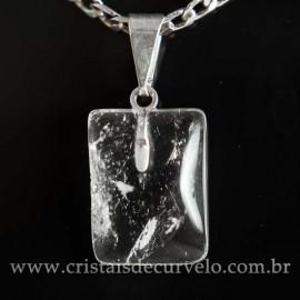 Mini Pingente Cristal Retangular 14mm Liso Pedra Natural Pino Prateado