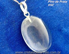 Pingente Cabochão Pedra Quartzo Cristal Castoação Prata 950 Pino e Perinha