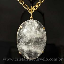 Pingente Gigante Cabochão Oval Cristal Natural na Garra Dourado