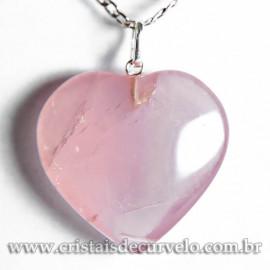 Pingente Coração Pedra Quartzo Rosa 28mm Extra Pino Prata 950