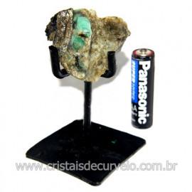 Esmeralda Canudo Pedra Natural com Suporte De Ferro Cod 119357