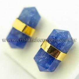Brinco Micro Bi Ponta Envolto Pedra Quartzo Azul Banho Dourado