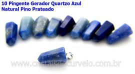 10 Pingente Pontinha Atacado Pedra Quartzo Azul Presilha e Pino Prateado