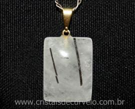 Pingente Retangular Cristal com Turmalina Pedra Natural Montagem Pino Argola Dourado