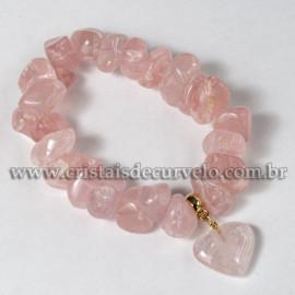Pulseira Coração Quartzo Rosa Pedra Rolado Silicone 113100
