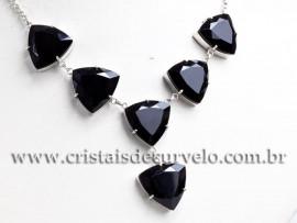 Maxxi colar Pedra Obsidiana Negra 7 Gemas Prata 950 111571