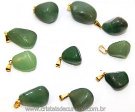 10 Pingente Pedrinha Quartzo Verde Dourado ATACADO Reff 111556