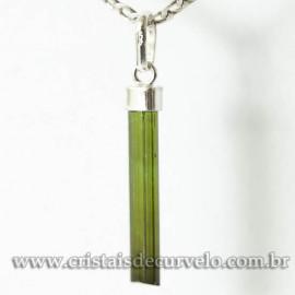 Pingente Canudo TURMALINA VERDE Pedra Bruto Prata 950 Cod 125101
