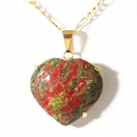 Pingente Coração Unakita Pedra Natural Extra Montagem Garra Dourado