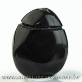 Pingente Pedra Rolada Obsidiana Negra Aromaterapia Ranhurado