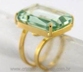 Anel Obsidiana Verde Facetado Garimpo Lava Vulcânica Banho Flash Dourado Aro Ajustavel REF 32.1