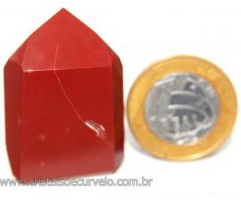 Ponta Jaspe Vermelho Natural Gerador Sextavado Cod 101786