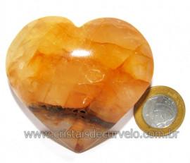 Coração Hematoide Amarelo Natural Presente Ideal Cod 116027