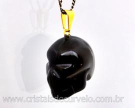 Pingente Caveira ou Cranio de Pedra Obsidiana Negra Natural Montagem Dourado
