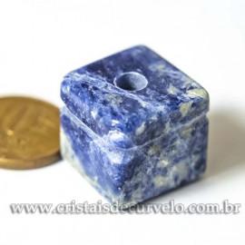 Pingente Pedra Cubo Quartzo Sodalítico Difusor Aromaterapia