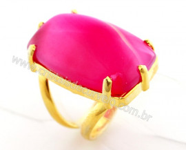 Anel Agata Rosa Retangular Dourado Aro Ajustavel Reff AR9140